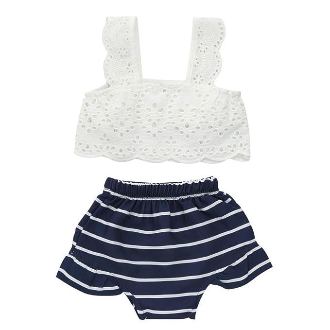 Dragon868 Conjuntos de Ropa, Verano niña bebé niñas Encaje Rayas Ropa + Shorts 2pcs/Set: Amazon.es: Ropa y accesorios