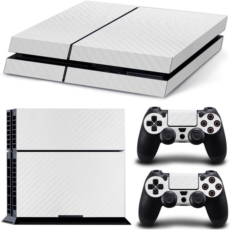 Gam3Gear Vinyl Sticker Pattern Decals Skin for PS4 Console & Controller (NOT PS4 Slim / PS4 Pro) - White Carbon Fiber