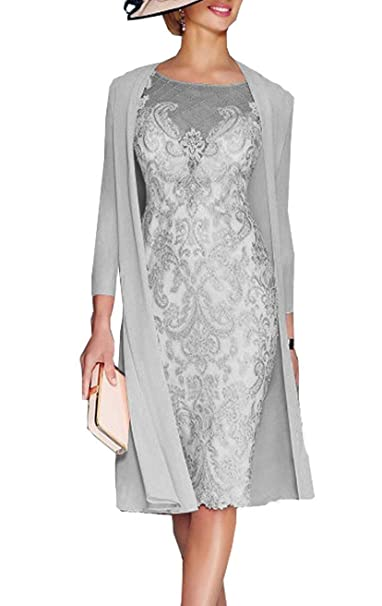 8b9de676daef dressvip La Madre della Sposa Veste al Ginocchio con la Giacca di Chiffon  per Le Nozze Formali  Amazon.it  Abbigliamento
