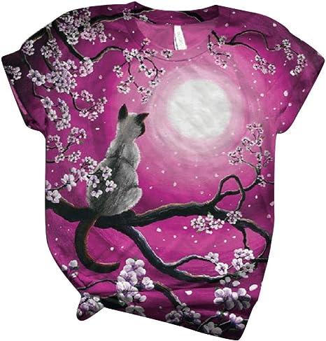 T-Shirt Übergröße Damen Esel Aufdruck Locker Kurzärmlig Rundhals