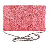 Evening Clutch Womens Floral Lace Envelope Clutch Purses Handbags For Wedding And Party (Coral red)
