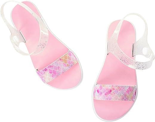صندل للفتيات الصغيرات من Limited Too - صنادل لامعة مفتوحة عند الأصابع مع أشرطة إبزيم للكاحل (طفل رضيع/فتاة صغيرة)