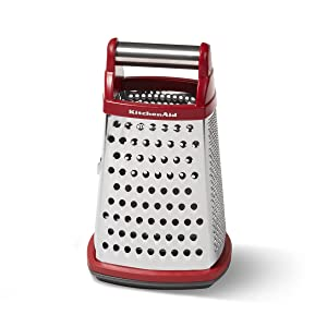 KitchenAid KN300OSERA Gourmet 4-Sided Stainless Steel Box Grater with Detachable Storage Container Small Red