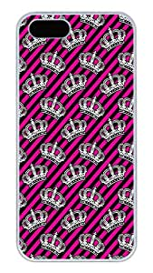 iPhone 5S Cases and Covers,Pink Girly Crowns Custom Slim Hard Case Snap-on PC Plastic Case Cover Shell for Apple iPhone 5S/5 White