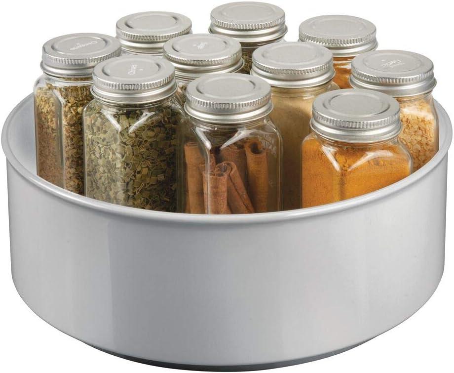 mDesign Lazy Susan Piatto girevole porta spezie bianco Vassoio porta barattoli ideale per cucina o dispensa Funzionale organizer girevole in plastica per lattine e bottiglie