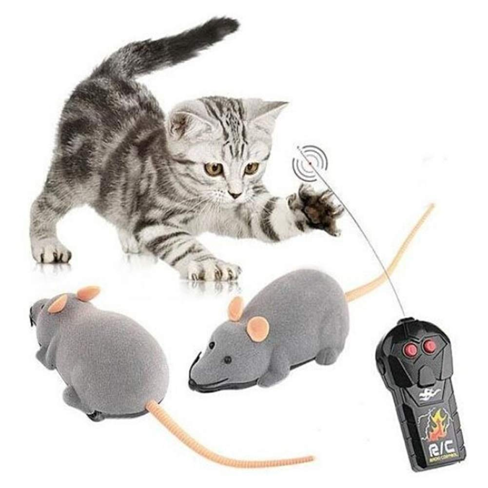 Yililay juguetes rata control remoto inal/ámbrico electr/ónico divertido del rat/ón de rata juguetes del animal dom/éstico para el Control Remoto Gatos Perros AAA de 1,5 V x 3