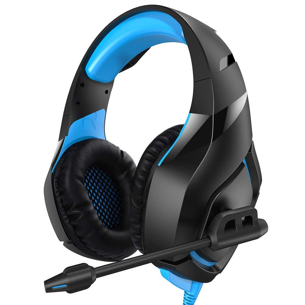 Gaming Headset as Xbox One Headset and PS4 Headset with Mic for Cell Phone PC(Camo Headset),Stereo 3.5mm Over Ear Headphones with Noise Canceling and Volume Control (blue)
