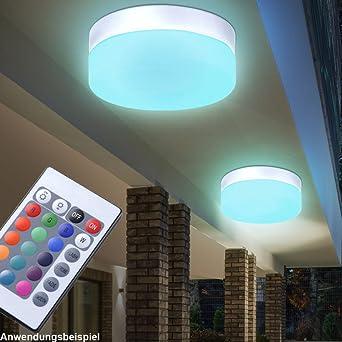 LED Außen Leuchte Bade Zimmer Decken Lampe Garten Balkon Wand Strahler silber