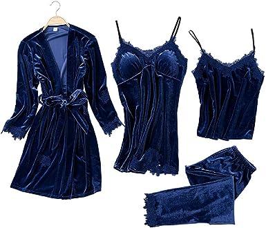 JULYS SONG Pijama para Mujer 4 Piezas Conjunto de Pijamas Ropa de Casa Dormir Encaje Pijamas Mujer Cómodo y Suave Camisones Ropa Elegante Mujer