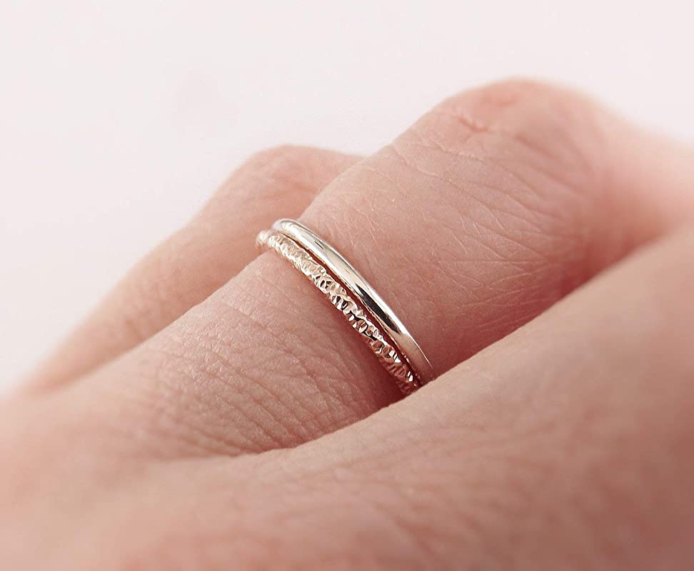 INFINITY CZ Silver - Tone Stack Ring Women's Fashion Ring - STK33 Stackable