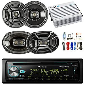 "Pioneer DEH-S6000BS Car Bluetooth Radio USB AUX CD Player Receiver - Bundle Combo With 2x Alpine 6.5"" 80W 2-Way Coaxial Car Speakers + 2x 6x9 Inch 280W Black Speaker + 4-Channel Amplifier + Amp Kit"