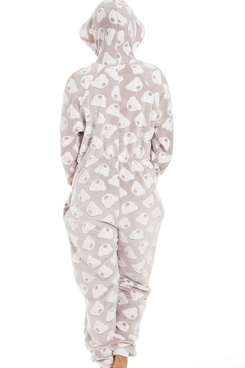 Camille Womens Beige Supersoft Fleece Knitted in Bear Design Hooded Onesie