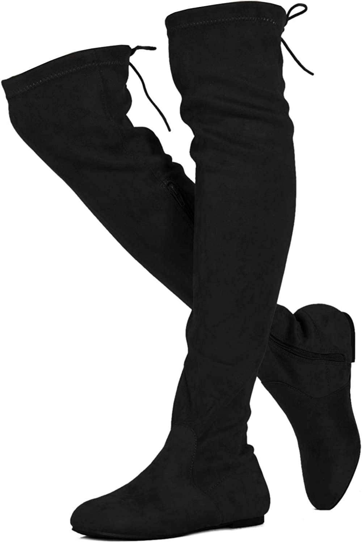 RF ROOM OF FASHION TrendHI-40 Women Fashion Comfy Vegan Suede Side Zipper Over The Knee Boots (Medium Calf)
