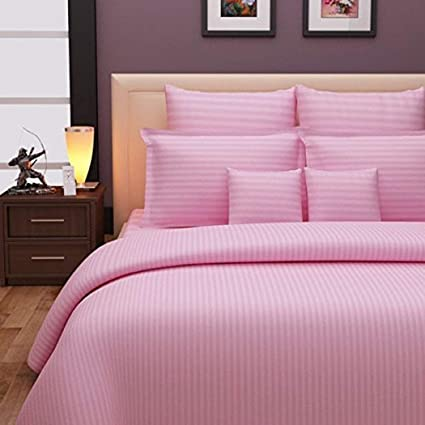 Reliable Trends Elastic Fitted Stripes Cotton Bedsheets(Multicolour, King)