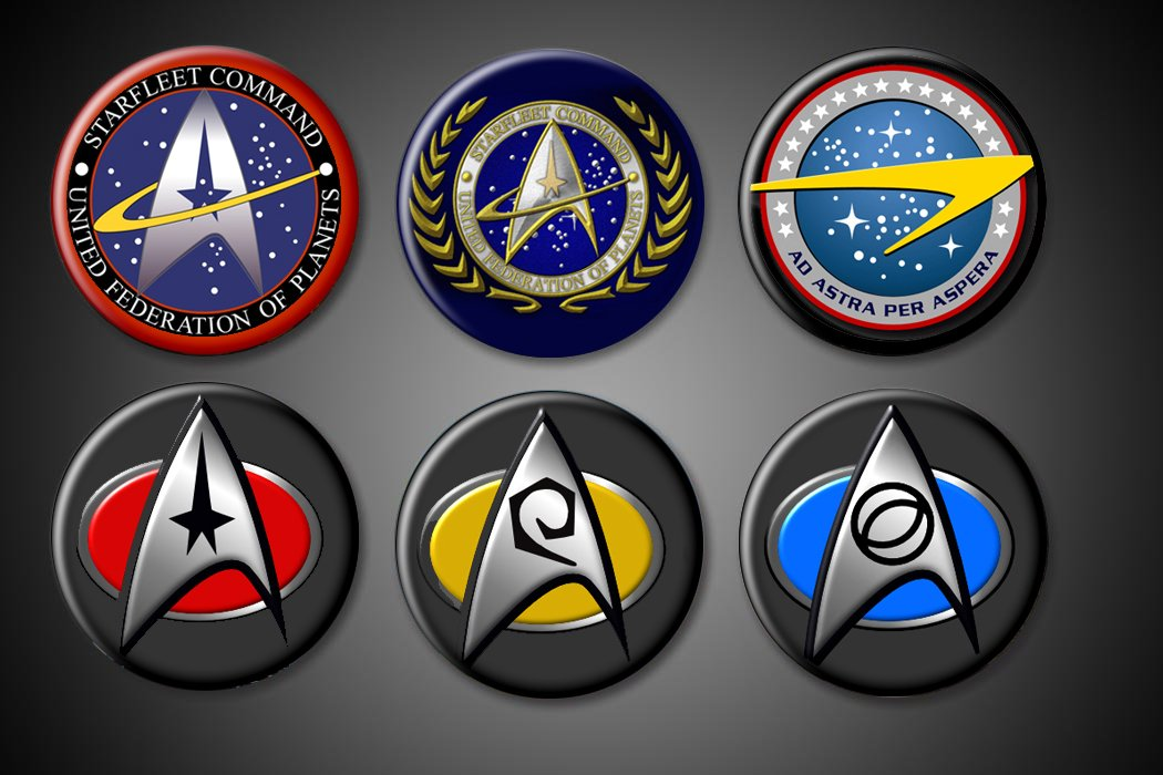 Star Trek - Set of 6 (Plus BONUS) 1.75 Pinbacks - Starfleet Command, United Federation of Planets, Gold, Blue and Red Badges, Astra Motto