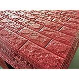 Revesun Brick Red 3D Tile Brick Waterproof Wall Sticker Self-adhesive Panels Decor Decal Wallpaper