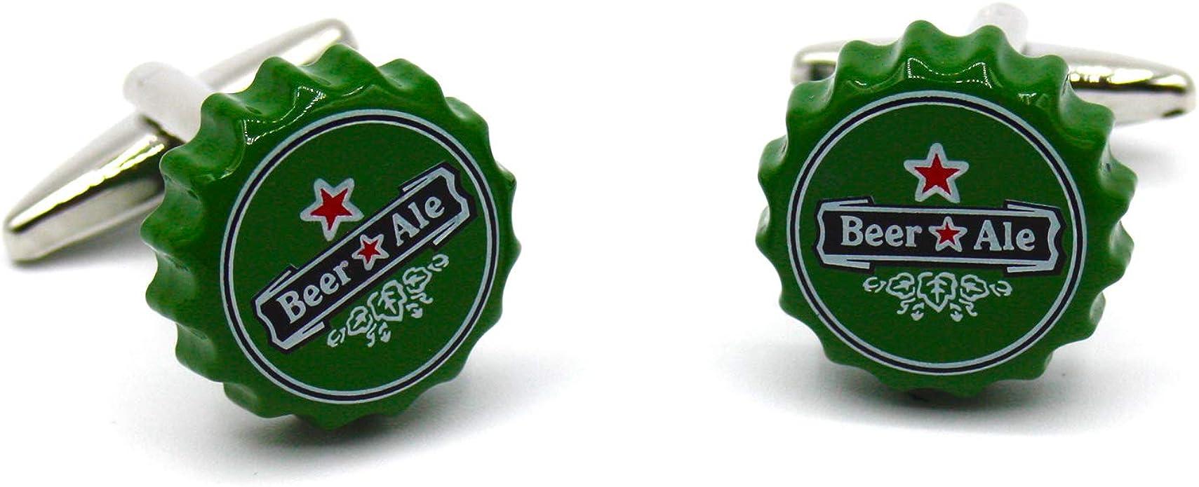 Territorial Gemelos de Camisa Originales Chapa de Cerveza. Diseño único de tapón de botellín Verde. Colección de Moda Hombre: línea Boda y Eventos. Regalo Divertido y Elegante con Caja: Amazon.es: Joyería