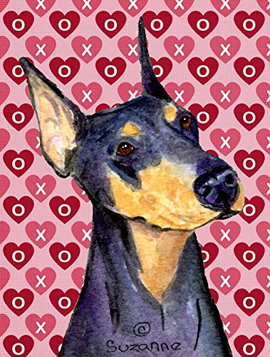 Caroline's Treasures SS4495CHF Doberman Hearts Love and Valentine's Day Portrait Canvas House Flag, Large, Multicolor