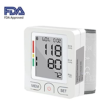 Blood Pressure Monitor, Sqrmekoko Automatic Digital Wrist Blood Pressure Monitor Adjustable Cuff with Irregular Heartbeat