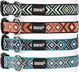 Friends Forever Dog Pattern Collar Double Layer Woven Square Orange Small 11-16'