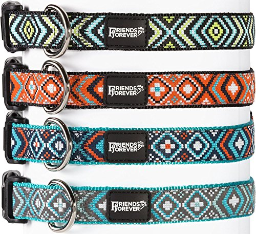 Double Layer Woven Square Pattern Dog Collar by Friends Forever, Turquoise Small 11-16 inches (Turquoise Collar Dog)