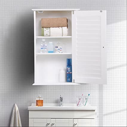 Superbe Go2buy White Wood Bathroom Wall Mount Cabinet Toilet Medicine Storage  Organizer Single Door Adjustable Shelves