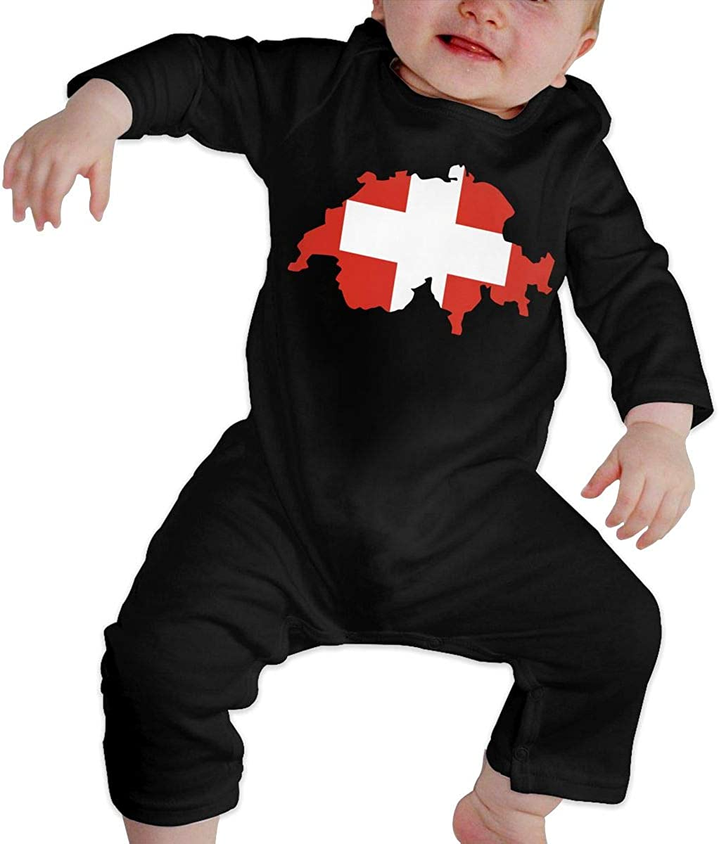 YELTY6F Switzerland Flag Map Printed Newborn Infant Baby Boy Girl One-Piece Suit Long Sleeve Outfits Black