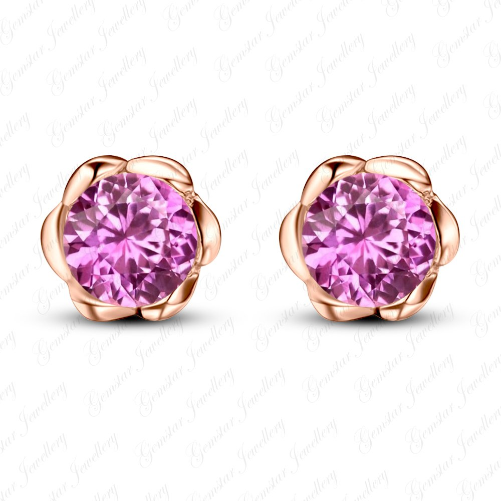 Gemstar Jewellery Round Shape Pink Sapphire Rose Gold Finish Flower Engagement Solitaire Earrings