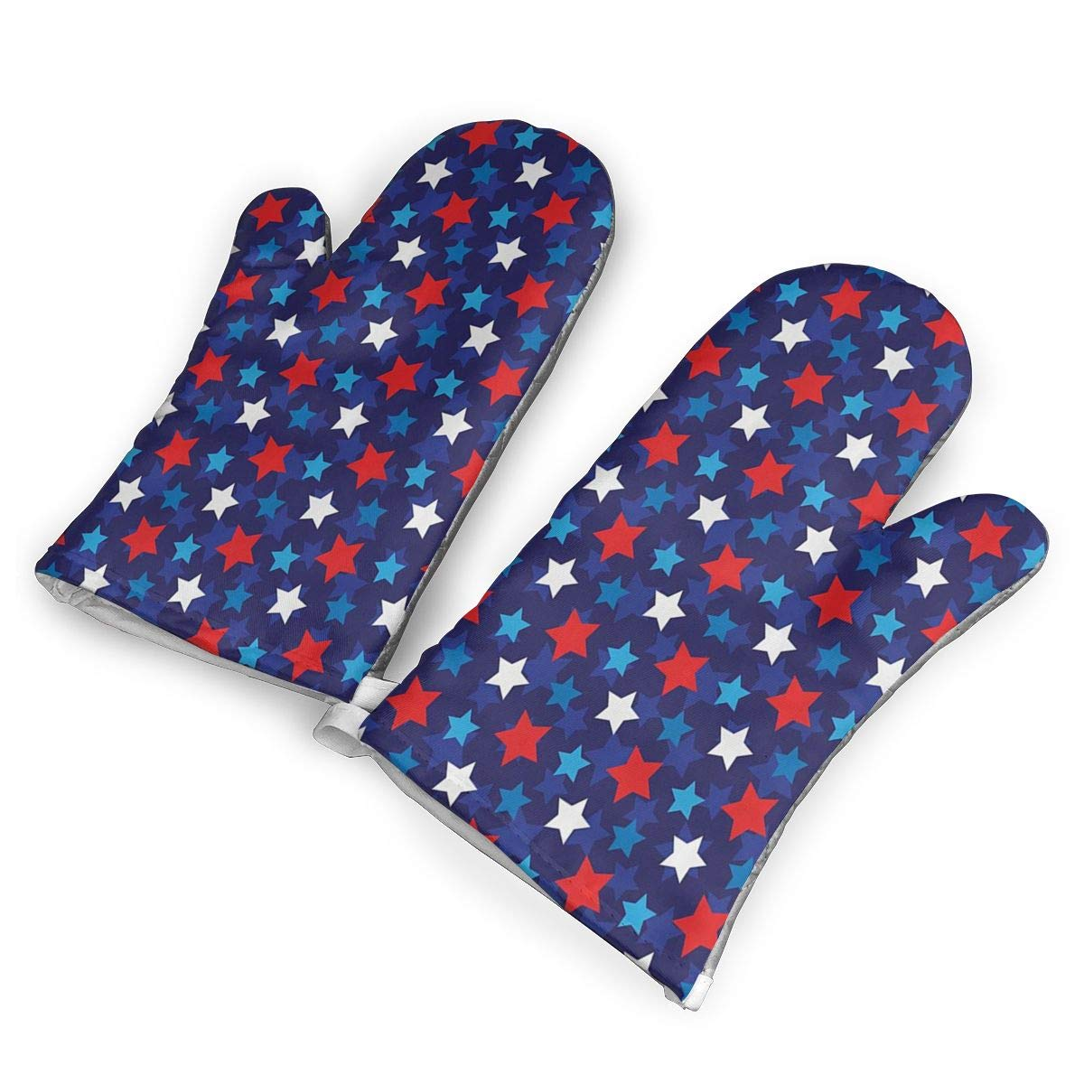 VshiXzno American Flag Inspired Patriotic Oven Mitts,Professional Heat Resistant to 500?? F,Non-Slip Kitchen Oven Gloves for Cooking,Baking,Grilling,Barbecue Potholders