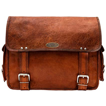 50bfa249f51f Image Unavailable. Image not available for. Color  Handmade World 16 quot  Leather  Messenger Bag ...