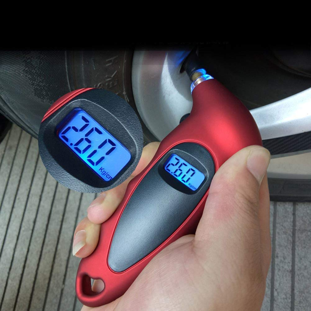 Black Household DierCosy 1PC Digital tire Pressure Gauge for car Bikes with Backlit LCD Display and Non-Slip Handle 150 PSI
