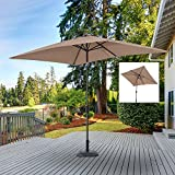 Rectangular Umbrella New 6.5 X 10 FT Patio Offset Hanging Outdoor Market Color Light Coffee