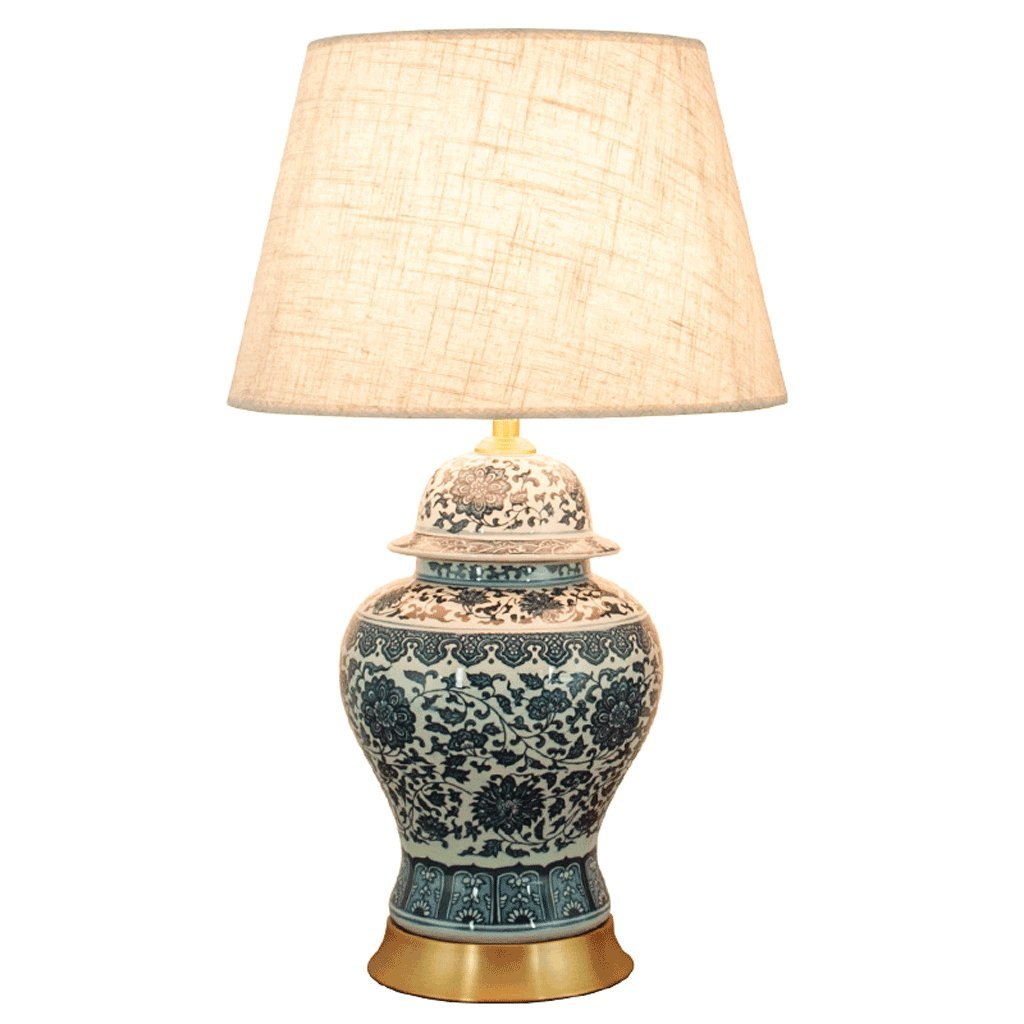 Ywyun new chinese vintage blue and white porcelain table lamp antique brass table lamp modern minimalist gray lamp shade stylish home living room bedroom