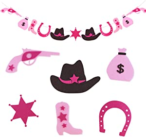 KREATWOW Pink Cowgirl Banner - Boot Banner, Horseshoe Garland for Western Cowgirl 1st Birthday Party Supplies or Baby Shower Decorations