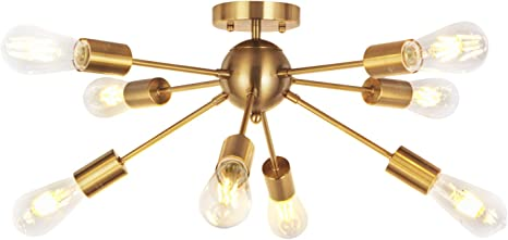 Amazon Com Vinluz 8 Light Sputnik Chandelier Light Fixtures Deeper Brass Semi Flush Mount Ceiling Light Modern Pendant Lighting Mid Century Starburst Style Ceiling Lamp For Kitchen Room Bedroom Dining Room Home Improvement