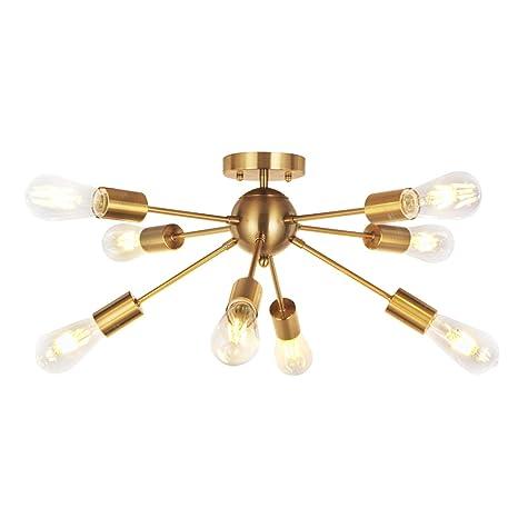 buy online 20799 12412 VINLUZ 8 Light Sputnik Chandelier Light Fixtures Deeper Brass Semi Flush  Mount Ceiling Light Modern Pendant Lighting Mid-Century Starburst Style ...