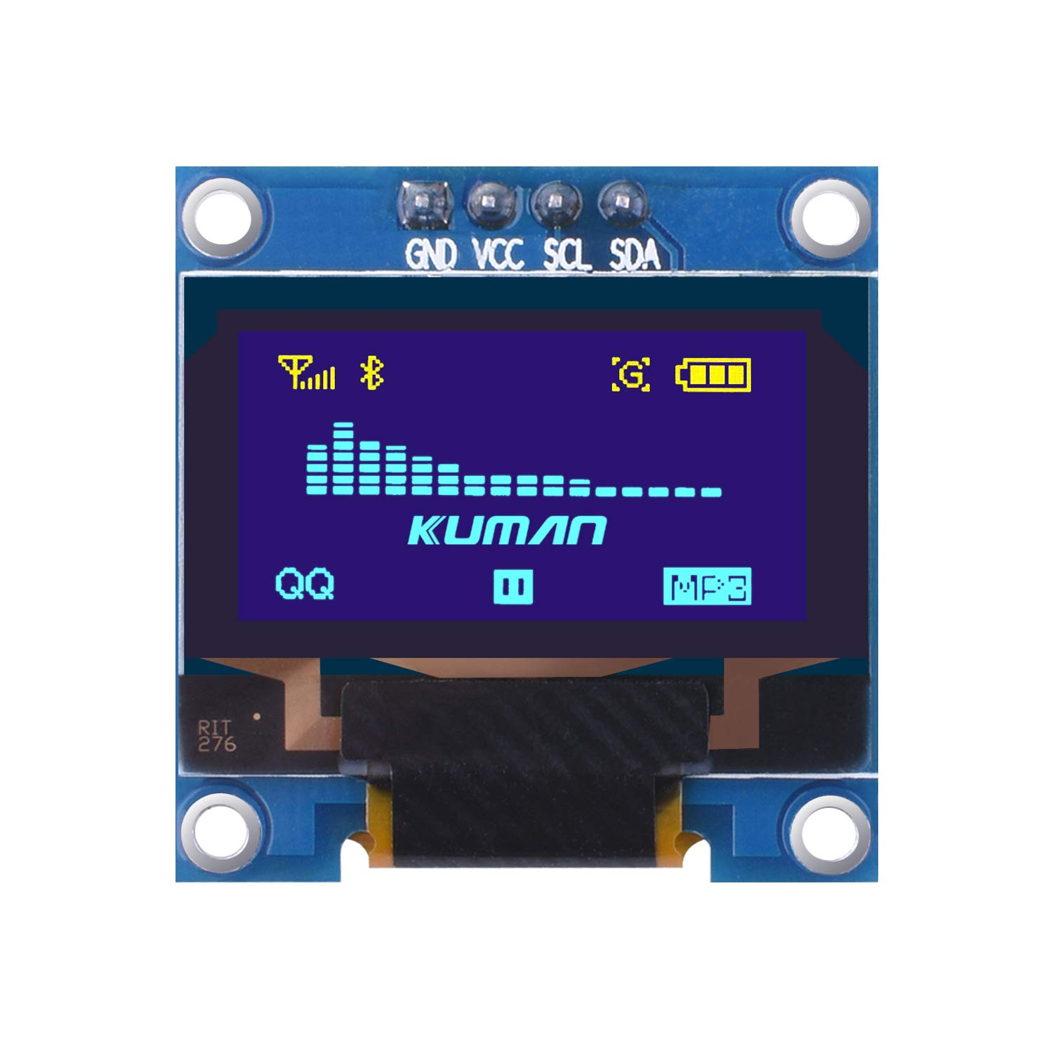Kuman 0 96 Inch Yellow Blue IIC OLED Moudle I2c IIC Serial 128x64 LCD  Display Compatible with Arduino Raspberry pi KY34-BY (Blue & Yellow)