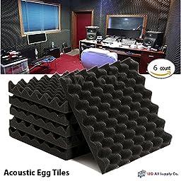 6 Pack- Acoustic Sound Foam Egg Tiles Panels (6 Square Feet) 12\