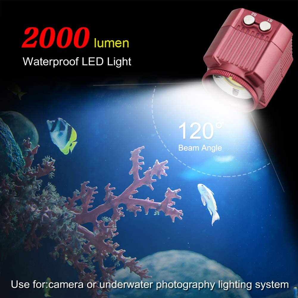 MSQL Underwater Camera Flash 60m Waterproof Diving Fill Light 2000LM for Gopro Hero 7 6 5 Action Video Cameras Accessories,Black