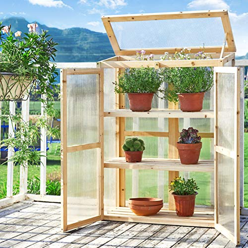 Cold Frame Greenhouse for Outdoor Gardening kealive Portable Wooden Cold Frame Kit, Raised Planter Bed Protection with Foldable Top, Natural, 32.5L x 13.4W x 42.1H