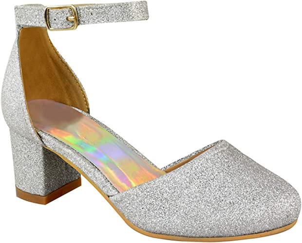 New Girls Kids Low Heel Wedding Bridesmaid Diamante Sandals Party Shoes UK Size