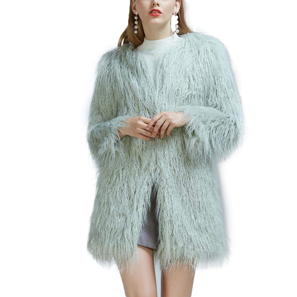 sweetyhomes Fashion Imitation Fur Beach Wool Long Coat Furry Long Hair Thick Coat Female Autumn and Winter
