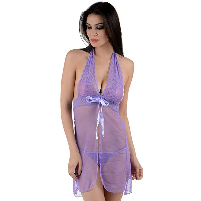 d53fb00340b4 Jara Sexy Baby Doll Purple Night Dress  Amazon.in  Clothing   Accessories