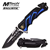 """8"""" Police Blue/Black MTECH SPRING ASSISTED FOLDING KNIFE Blade pocket open switch- Firefighter Rescue Pocket Knife - hunting knives, military surplus - survival and camping gear"""