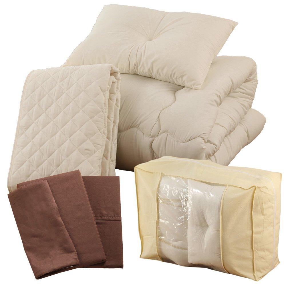 すぐに使える 高品質 ベッド用7点セット シングル ムジ柄 ムスタングブラウン A091-S014SB006BR B01MD0MJ3J シングル|ムジ柄ムスタングブラウン ムジ柄ムスタングブラウン シングル