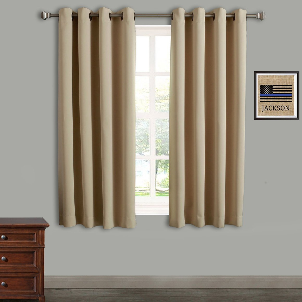 Rose Home Fashion RHF Blackout Thermal Insulated Curtain - Antique Bronze Grommet Top for bedroom-Set of 2 Panels-52W by 63L Inches-Beige-5263p2