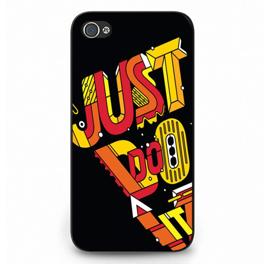 Just Do It Iphone 4 Case,Popular Nike Logo Just Do It Phone Case Protective Hard Plastic Case Cover For Iphone 4,Black Phone Case