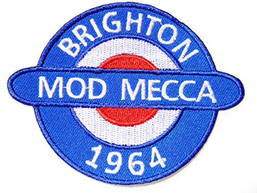BRIGHTON MOD MECCA 1964 Vespa Lambretta Scooter Logo Sign Biker Racing Patch Iron on Applique Embroidered T shirt Jacket BY SURAPAN