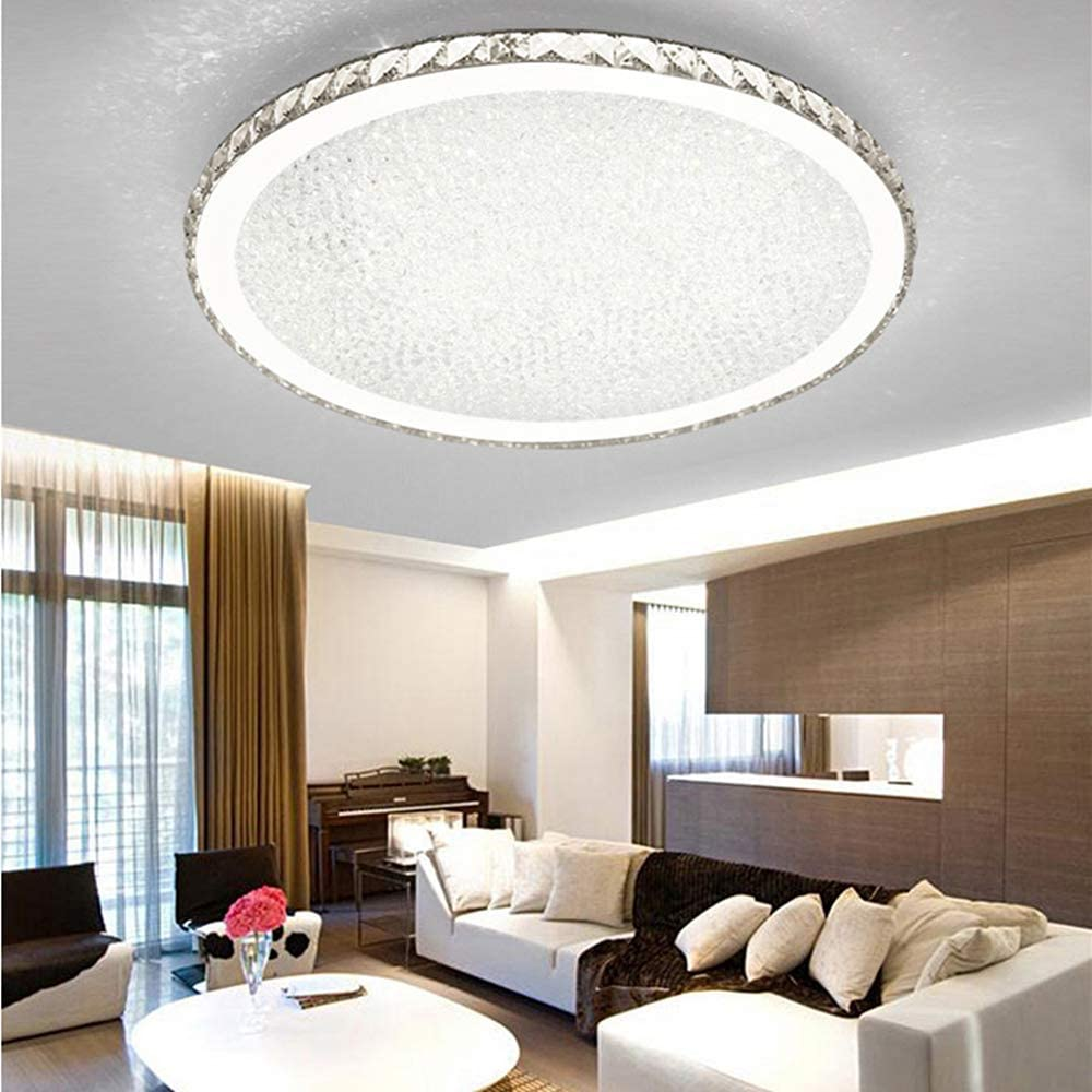 Ladiqi Crystal Round LED Flush Mount Ceiling Light Luxury Modern Close to Ceiling Light Indoor Chandelier Lighting Fixture for Living Room Bedroom Dining Room Restaurant (White, 12'') - -