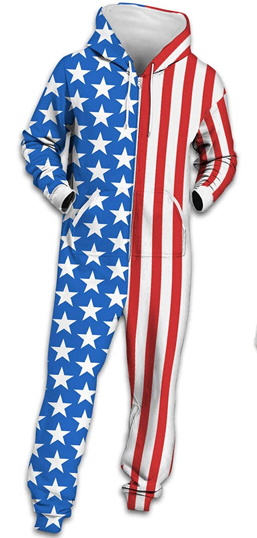 eb4583304b89 Amazon.com  Enggras Men Unisex American Flag Adult Onesie Pajamas Sleepwear  Hooded Jumpsuit Halloween Christmas Costumes  Clothing